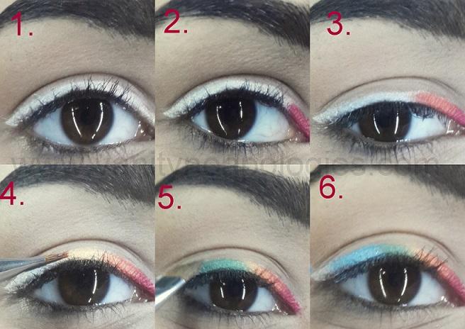 Easy Rainbow Eyeliner Makeup Tutorial Step By